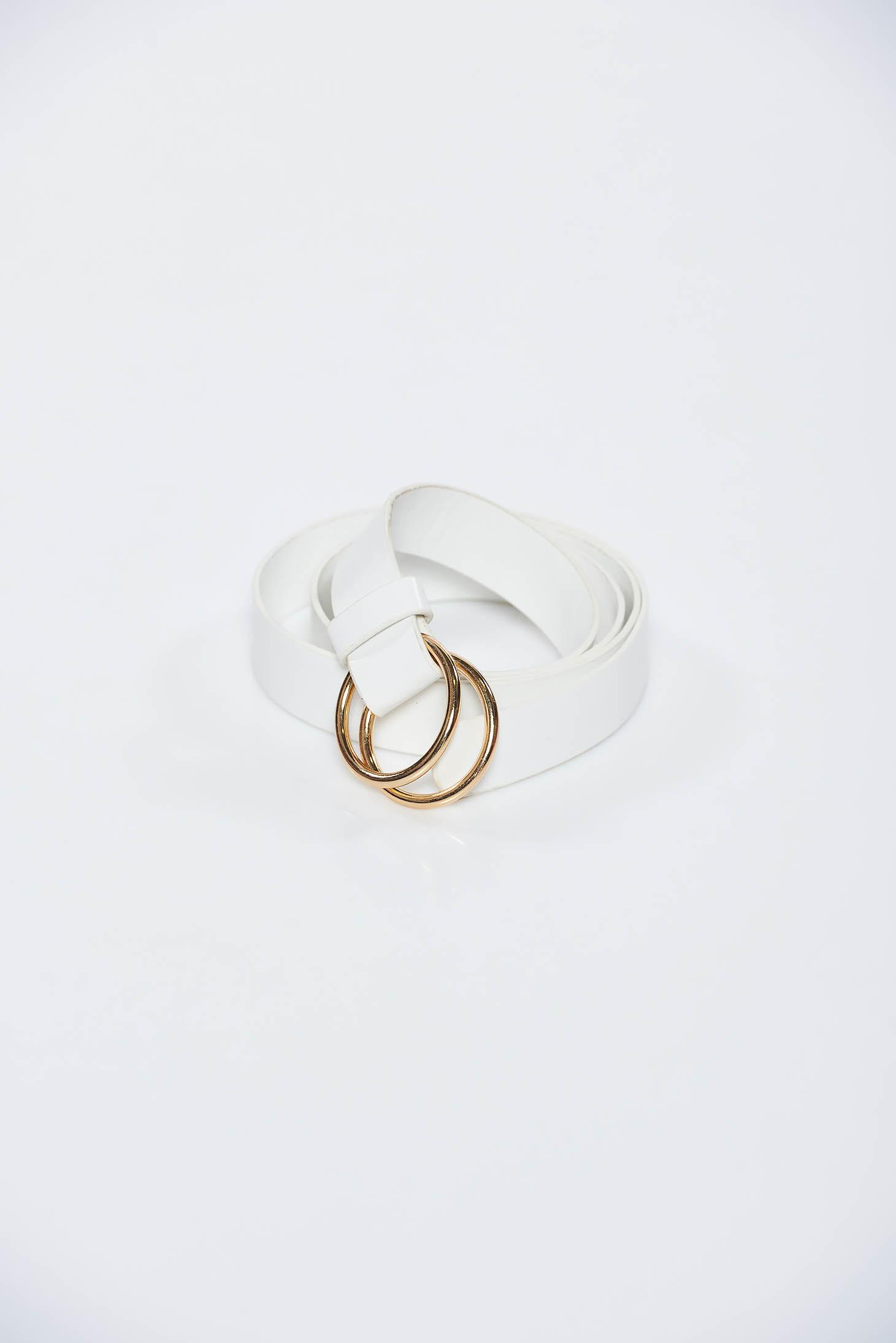 Fehér StarShinerS fém csattal díszített öv műbőrből
