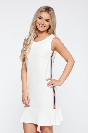 StarShinerS white casual dress with straight cut from elastic fabric with ruffle details