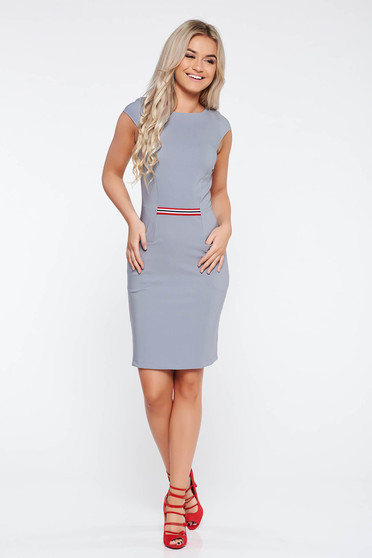 StarShinerS grey office dress from elastic fabric with tented cut with pockets