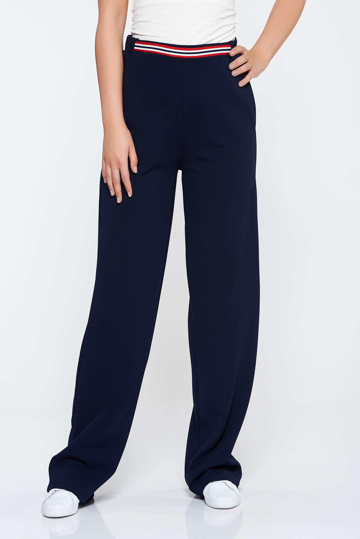 Pantaloni StarShinerS albastru-inchis casual evazati cu talie medie din material elastic cu buzunare
