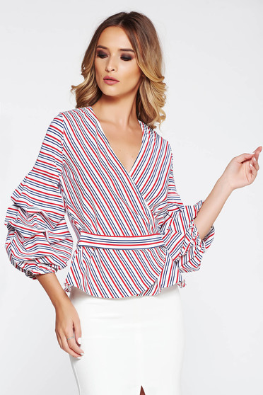 StarShinerS white women`s blouse office from elastic fabric wrap around with puffed sleeves with v-neckline