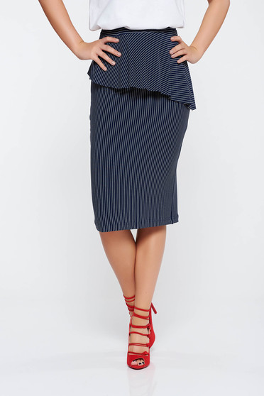 StarShinerS darkblue casual pencil skirt from elastic fabric with frilled waist with medium waist