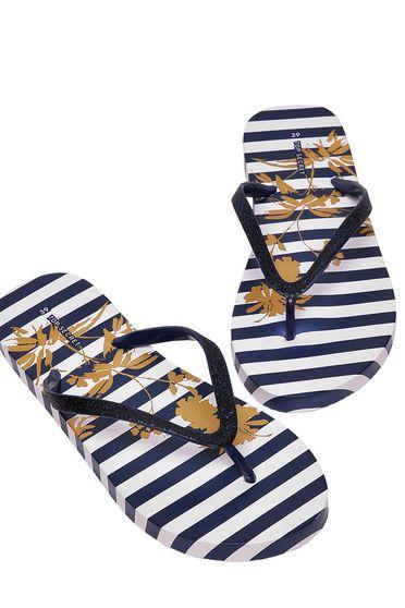 Top Secret darkblue slippers beach wear gum sole with stripes