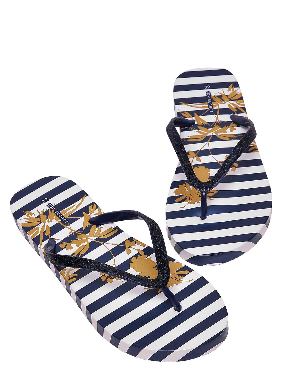 Papuci Top Secret albastri-inchis de plaja cu talpa din cauciuc cu dungi