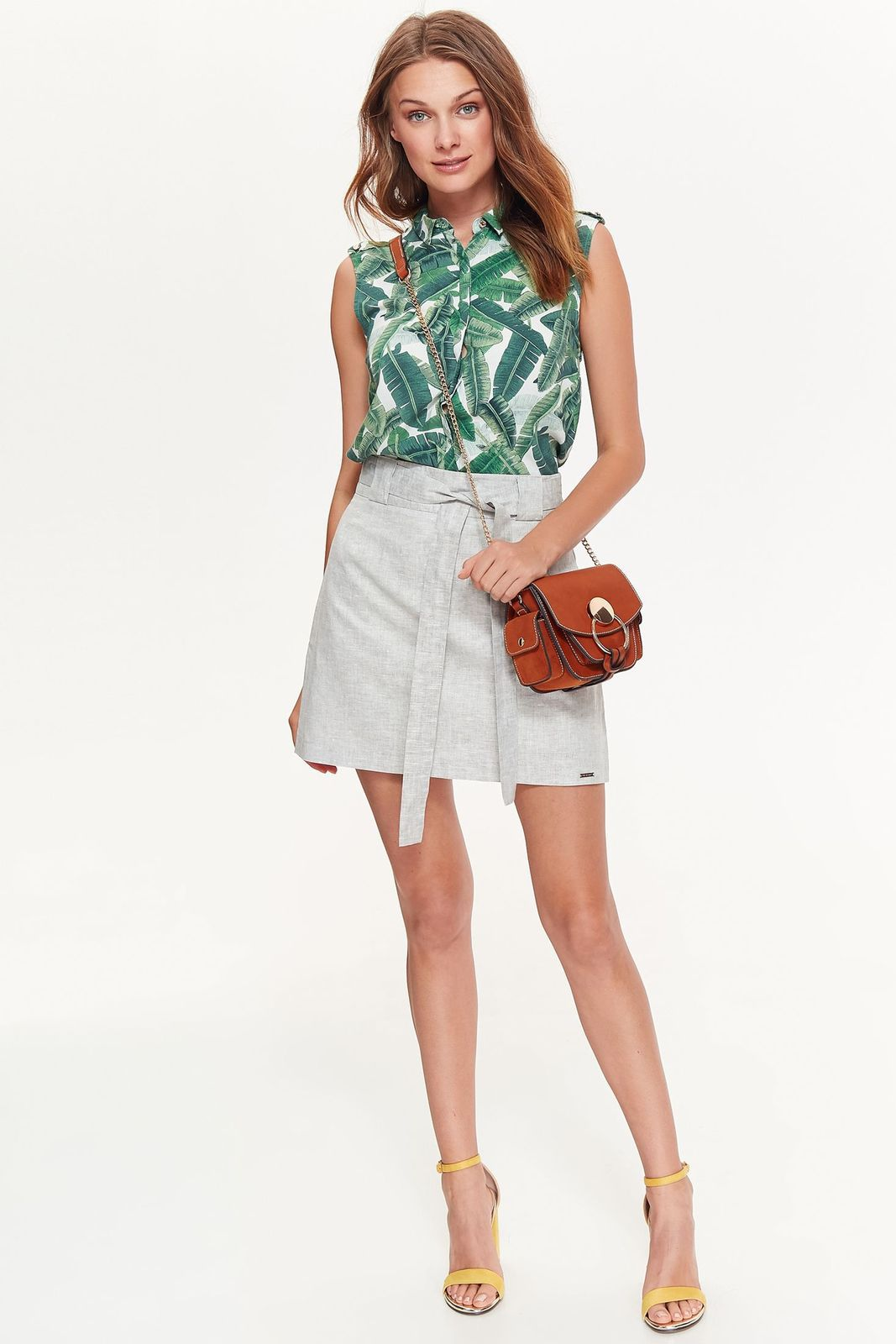 Camasa dama Top Secret verde casual cu croi larg fara maneci din material subtire cu print