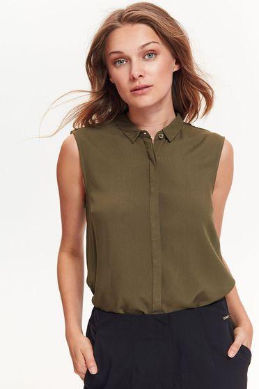 Top Secret khaki women`s shirt office flared thin fabric sleeveless