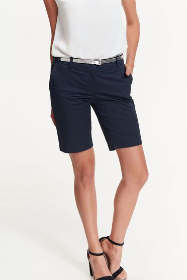 Top Secret darkblue short cotton with medium waist with pockets accessorized with belt