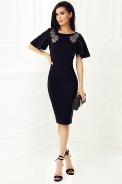 StarShinerS black occasional pencil dress slightly elastic fabric with sequin embellished details