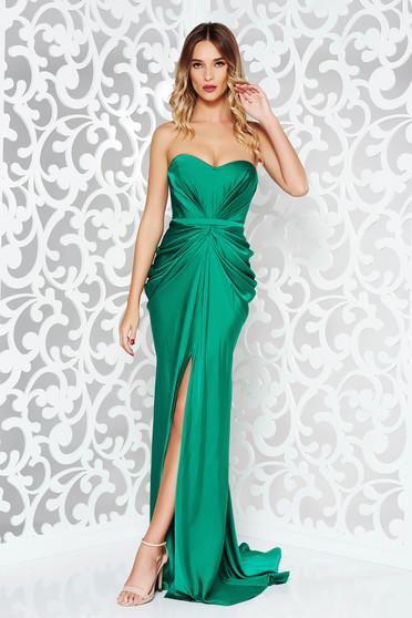 Ana Radu darkgreen dress with push-up bra luxurious from satin fabric texture off shoulder