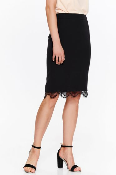 Top Secret black skirt elegant pencil slightly elastic fabric with lace details