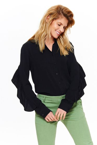 Top Secret black elegant flared women`s shirt nonelastic fabric with ruffle details