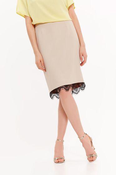 Top Secret peach skirt elegant pencil slightly elastic fabric with lace details