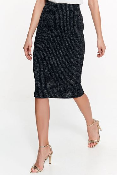 Top Secret black skirt office pencil from elastic fabric high waisted