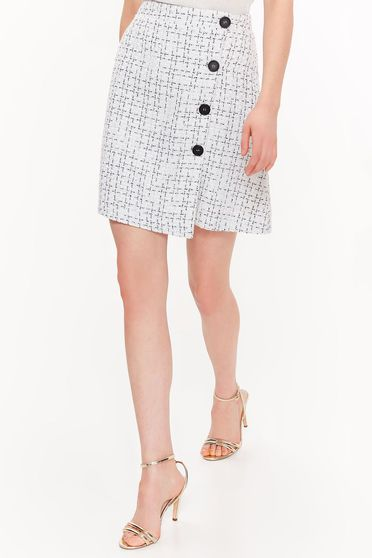 Top Secret white skirt office high waisted flaring cut nonelastic fabric