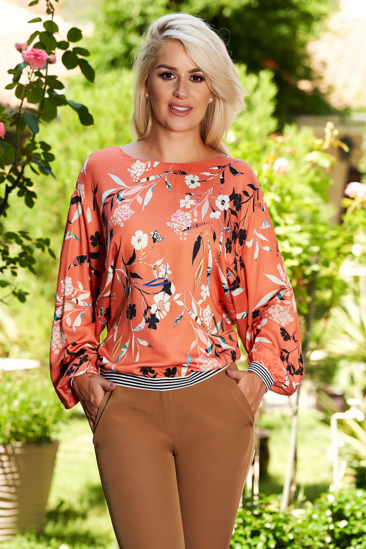 Bluza dama Top Secret portocalie casual cu croi larg scurta cu imprimeu floral