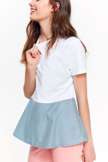 Top Secret white t-shirt casual flared cotton with frilled waist