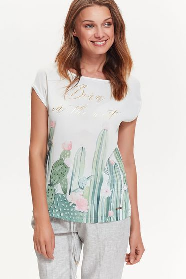 Top Secret white t-shirt casual flared airy fabric with print details