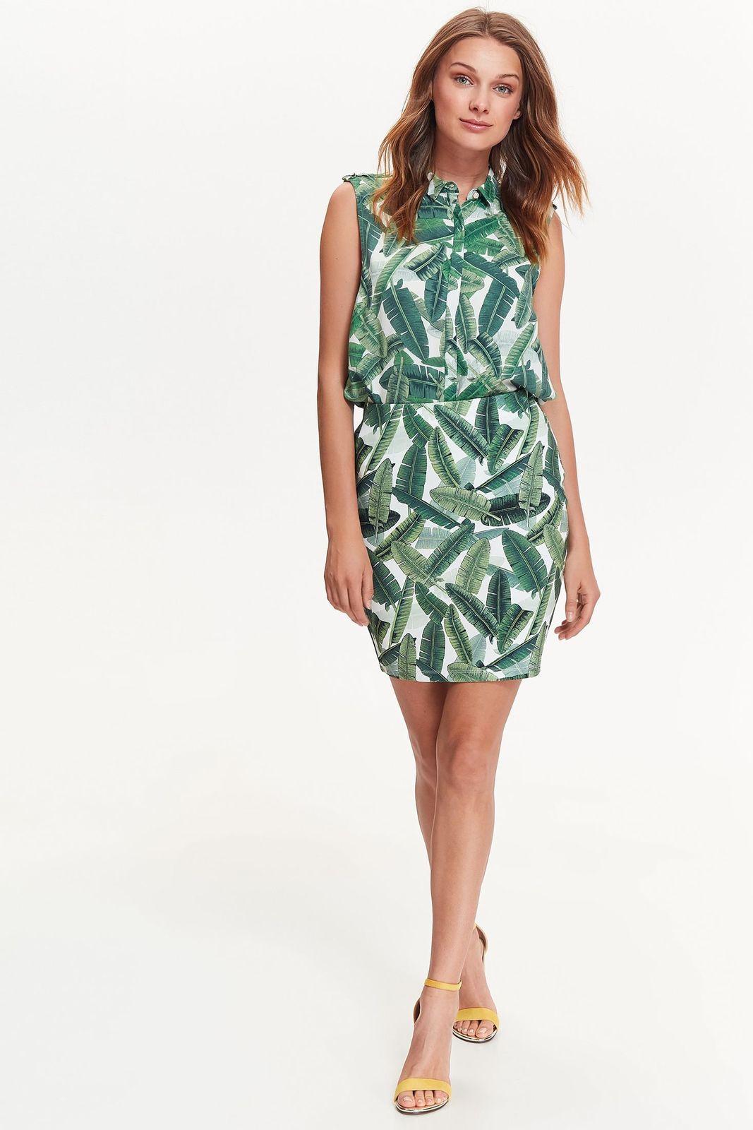 Fusta Top Secret verde casual cu un croi mulat din material usor elastic cu talie medie