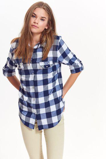 Top Secret blue casual flared women`s shirt nonelastic cotton plaid fabric