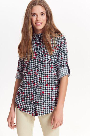 Top Secret black casual flared women`s shirt nonelastic cotton plaid fabric