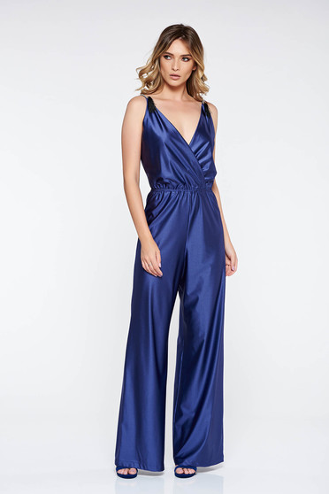 StarShinerS blue occasional jumpsuit from shiny fabric with elastic waist with deep cleavage