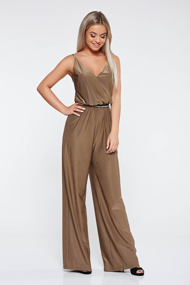 StarShinerS gold occasional jumpsuit from shiny fabric with elastic waist with deep cleavage