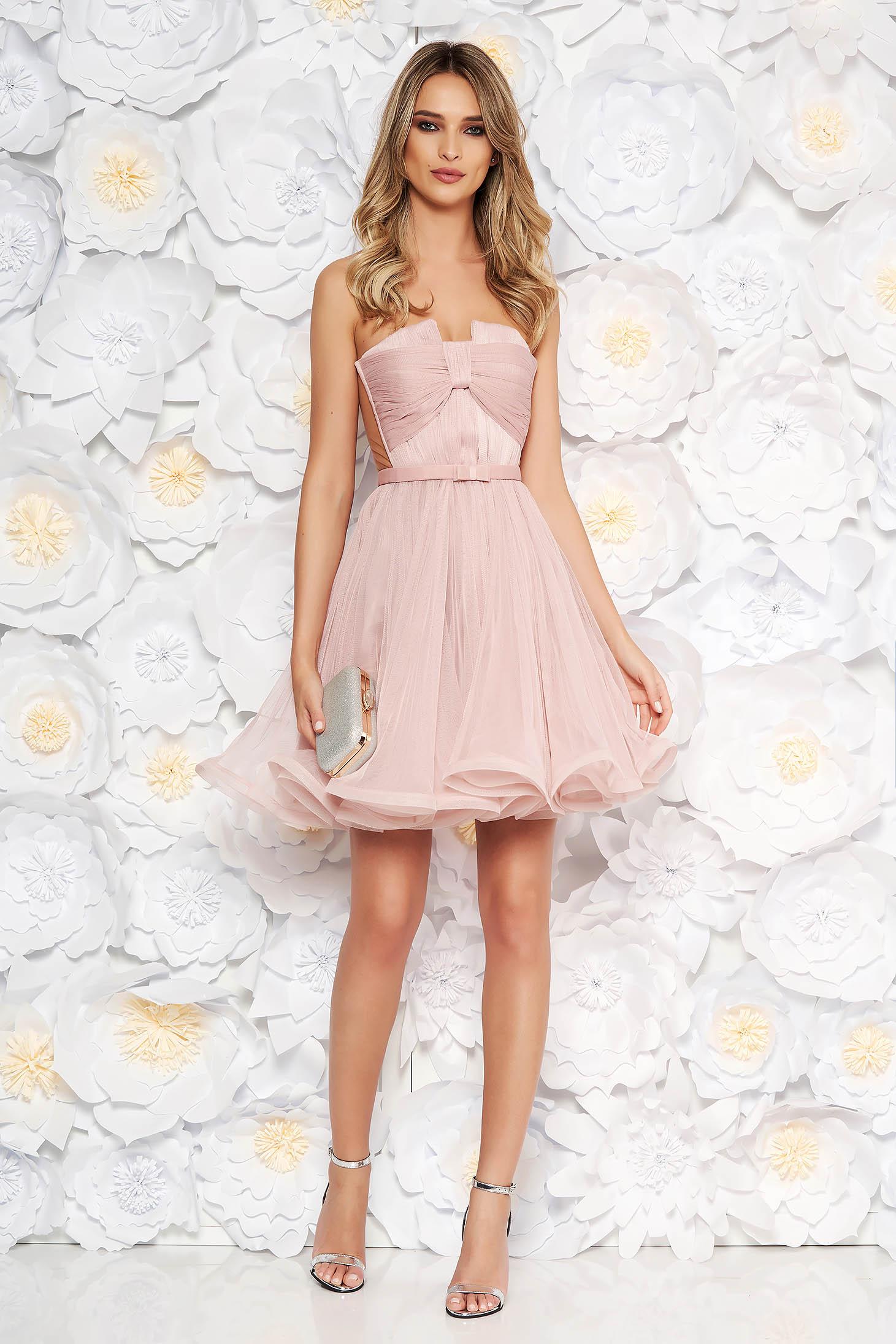 Rochie Ana Radu rosa de lux in clos tip corset din tul captusita pe interior