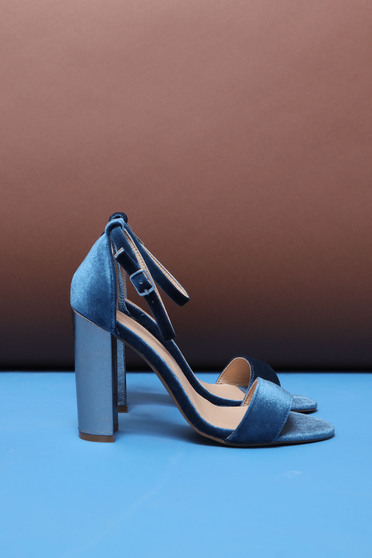 Top Secret blue sandals elegant chunky heel with high heels with thin straps