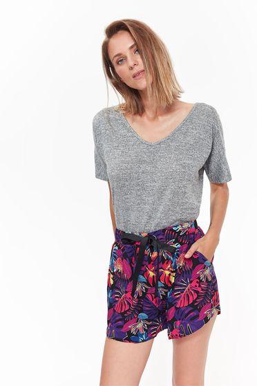 Top Secret lightgrey t-shirt casual flared slightly elastic fabric with v-neckline