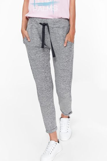 Top Secret grey trousers casual slightly elastic fabric with pockets is fastened around the waist with a ribbon