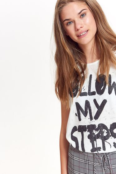 Top Secret white casual flared t-shirt nonelastic fabric with print details texted