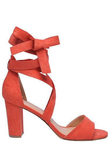 Top Secret orange sandals from ecological leather chunky heel