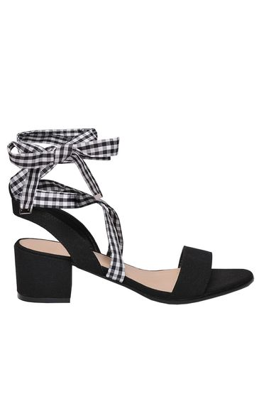 Top Secret black sandals casual from ecological leather chunky heel square heel