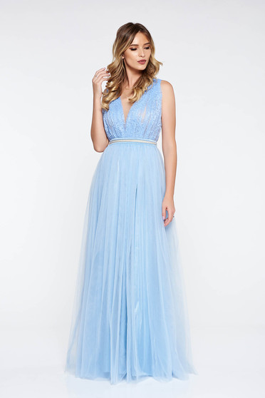 LaDonna lightblue dress occasional from tulle laced with small beads embellished details cloche