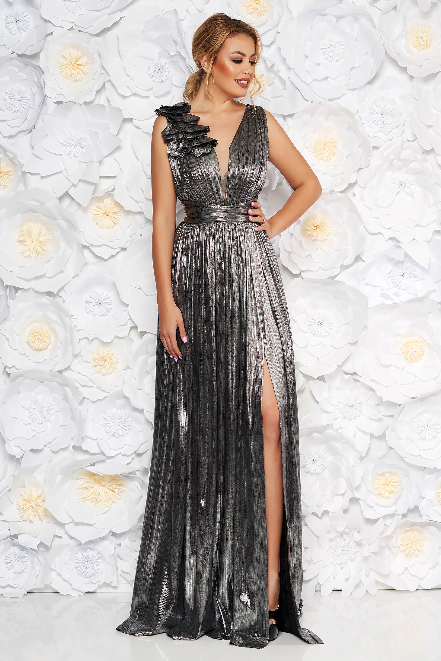 LaDonna silver occasional cloche dress from shiny fabric with floral details