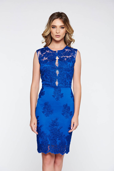 Blue occasional pencil dress laced with inside lining
