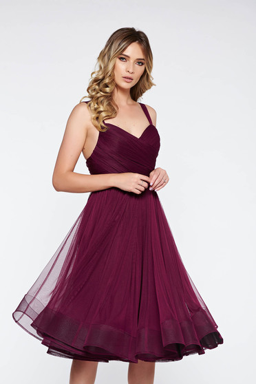 Ana Radu purple cloche dress with push-up cups luxurious from tulle with inside lining