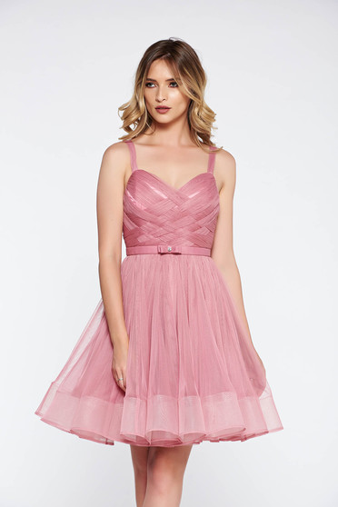 Ana Radu pink cloche dress luxurious with inside lining corset from tulle