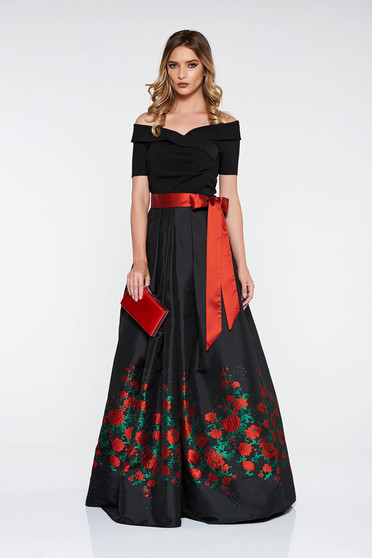 Artista black dress occasional from satin fabric texture with inside lining cloche with floral prints