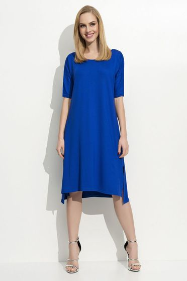 Folly blue dress casual 3/4 sleeve midi asymmetrical thin fabric