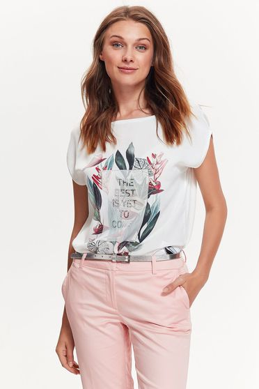 Top Secret white t-shirt casual flared airy fabric with floral prints