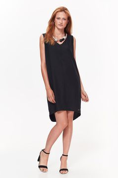 Top Secret black dress daily asymmetrical with easy cut nonelastic fabric with v-neckline