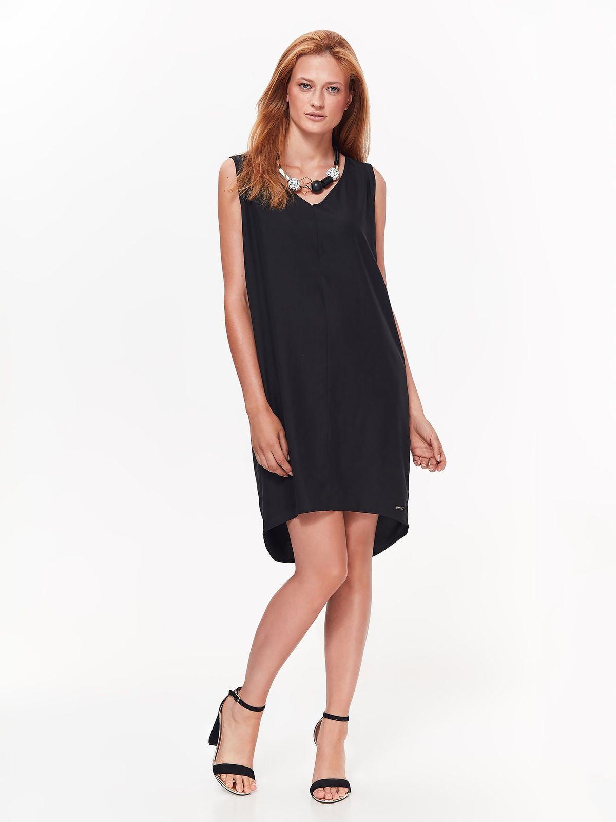 153f5e8551 Fekete Top Secret ruha hétköznapi aszimetrikus bő szabás nem rugalmas anyag  v-dekoltázzsal