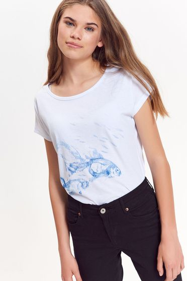 Top Secret white t-shirt casual from soft fabric with easy cut with print details