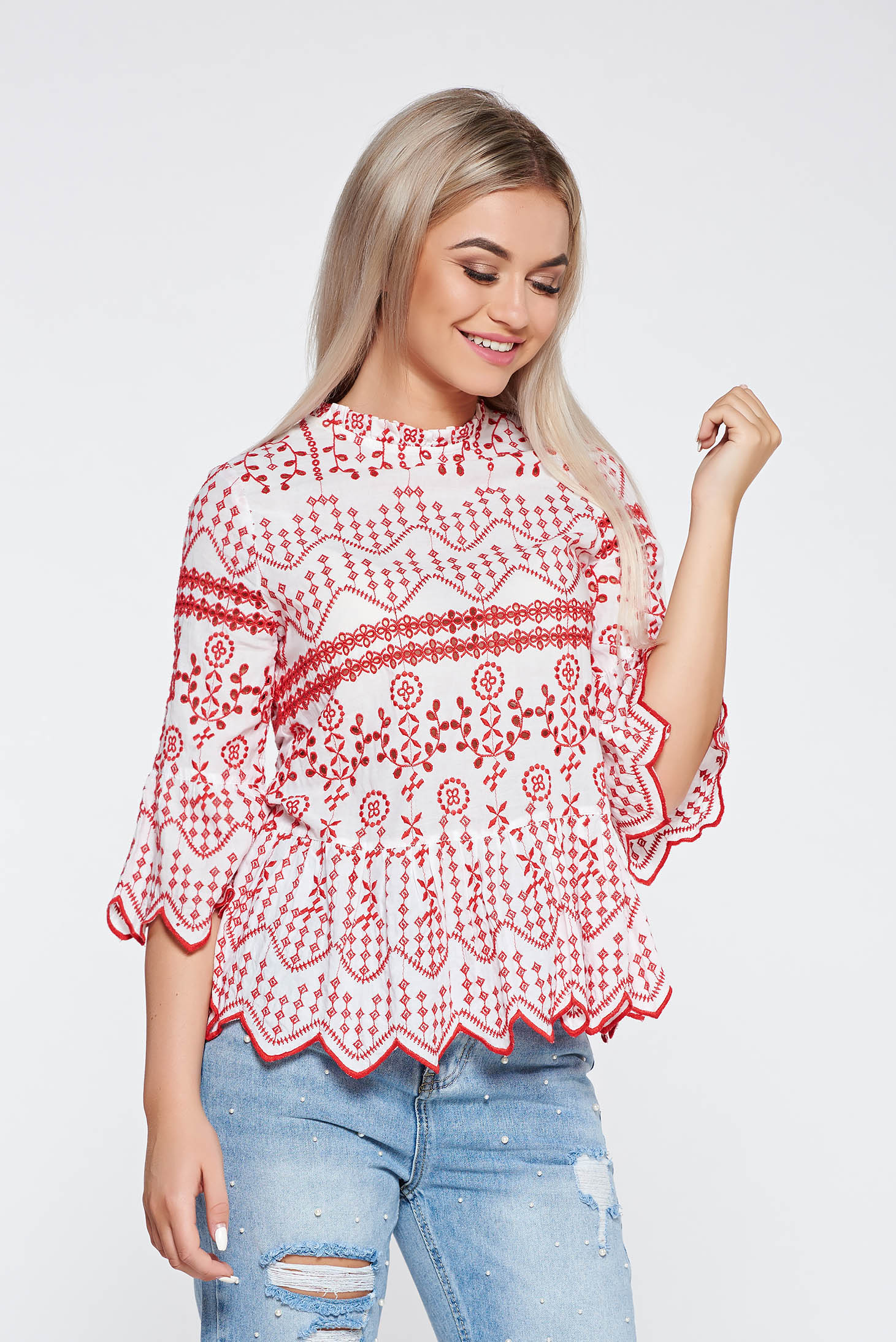 red casual flared embroidered women s blouse nonelastic cotton