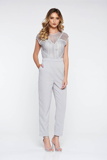 Grey elegant jumpsuit with tented cut long nonelastic fabric