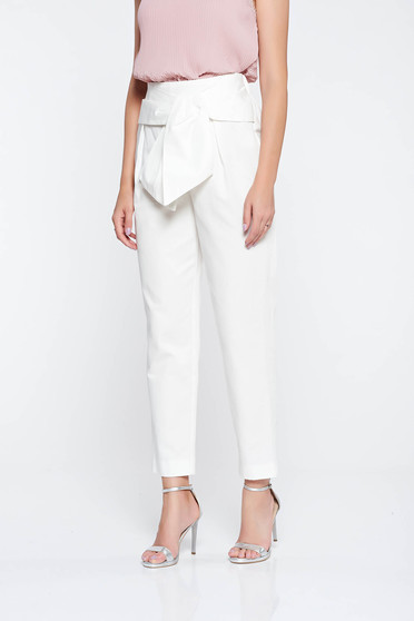 Raspberry white trousers elegant conical cotton high waisted