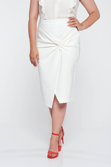 Raspberry white skirt elegant from elastic fabric high waisted with tented cut