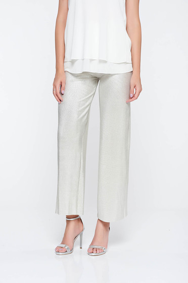 Silver elegant flared trousers from shiny fabric with elastic waist