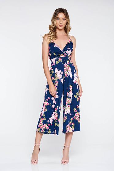 Darkblue elegant jumpsuit slightly elastic fabric flaring cut with v-neckline
